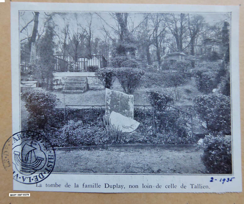 Carte postale 1935 Tombe Duplay
