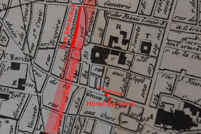 Situation de l'Hôtel du Nord et rue Sénécaux