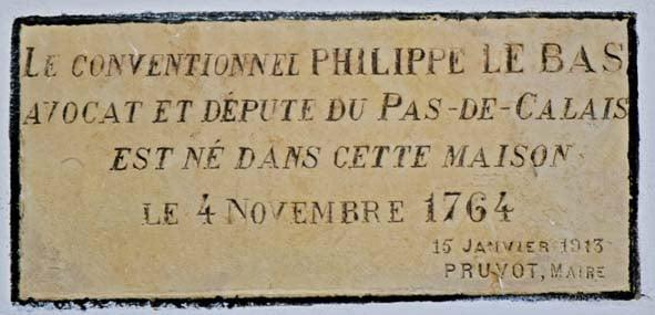 Plaque commémorative de Philippe Le Bas, le Conventionnel , posée le 15 janvier 1913
