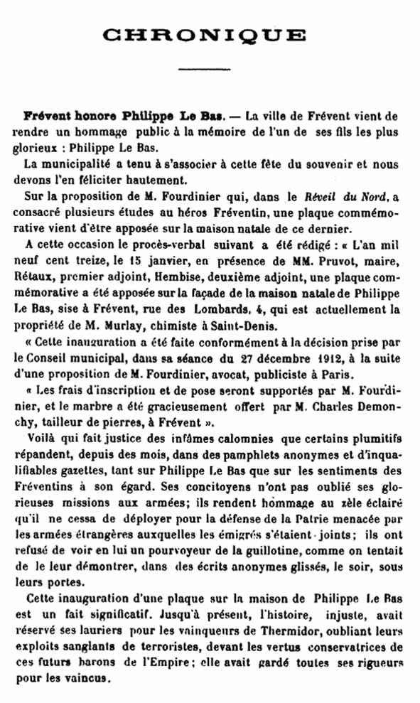 Frévent honore Philippe Le Bas