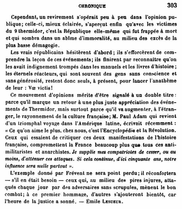 Article d'Emile Lesueur sur la pose de la plaque  Philippe Le Bas