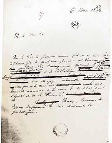 brouillon de la lettre de Philippe le Bas à Hyppolyte Carnot du 6 mars 1848