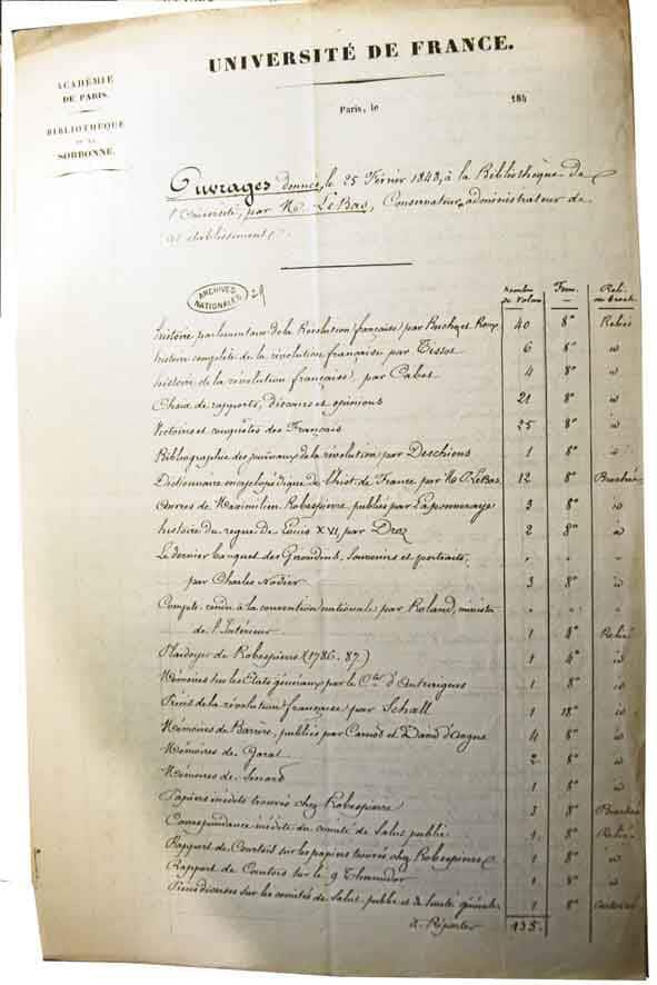 Philippe Le Bas Liste des 240 volumes (1)