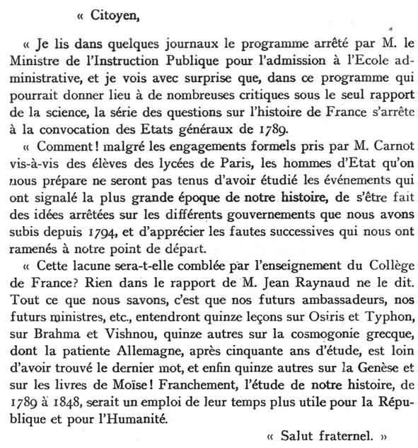 Lettre de réprobation de Philippe Le Bas suite au non repect par hyppolite carnot de la parole donnée