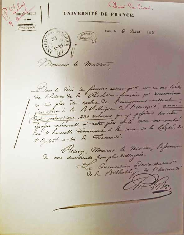 Lettre de Philippe Le Bas à Hyppolite Carnot