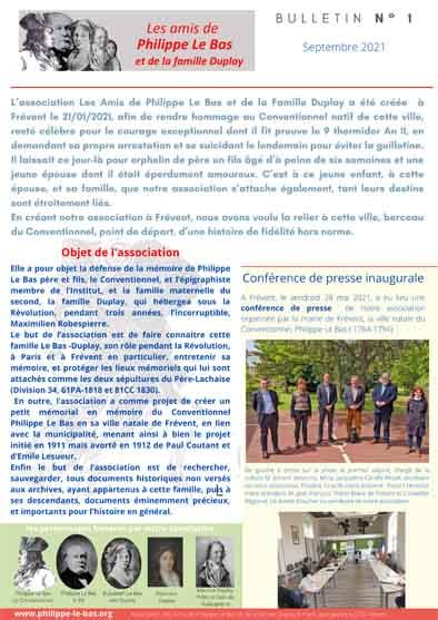 Bulletin n° 1 de l'Association des Amis de Philippe Le Bas et de LaFamille Duplay
